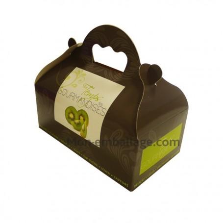 Boîte pâtissière verte avec poignée 18 x 10 x 7 cm décor TEMPO - par 50