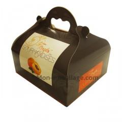 Boîte pâtissière orange avec poignée 18 x 16 x 7 cm décor TEMPO - par 50