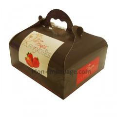 Boîte pâtissière rouge avec poignée 20 x 18 x 7 cm décor TEMPO - par 50