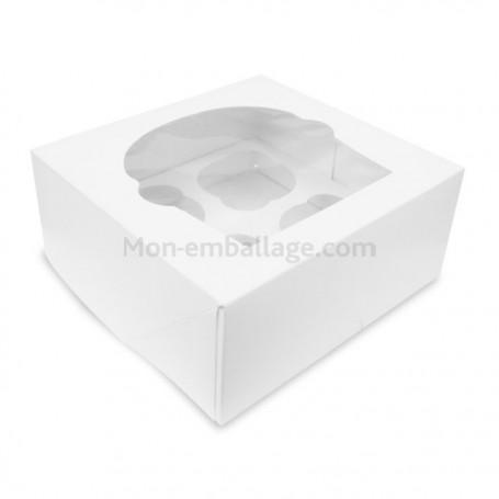 Boîte pour 4 cupcakes blanche avec fenêtre - par 140